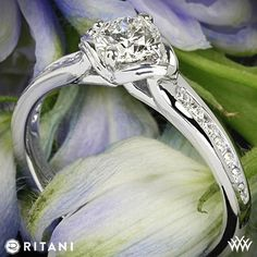 18k White Gold Ritani Modern Channel-Set Diamond Engagement Ring set with a beautiful 0.562 ct G VS1 A CUT ABOVE® Hearts and Arrows  Diamond