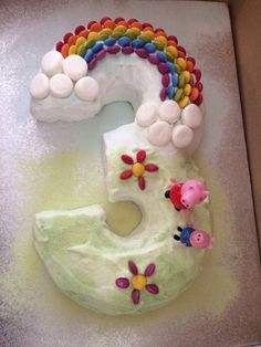 My attempt at a number 3 Peppa Pig birthday cake with Smartie rainbow for E's third birthday