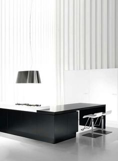 contemporary kitchen with sleek black lines