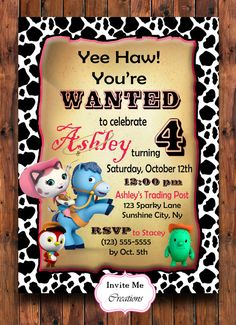 Sheriff Callie Birthday Invitation, Birthday Party Invite, Toby, Deputy Peck, Pink, Cow Print, Custom, Digital File, Wanted Poster, Personal
