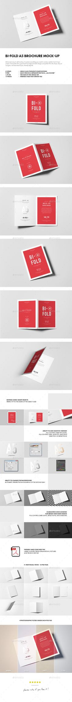 Bi-Fold A5 Brochure / Leaflet Mock-up. Advanced, easy to edit mockup. It contains everything you need to create a realistic look of your project. Guarantees the a good look for bright and dark designs and perfect fit to the shape. Easy to navigate, well described layers, friendly help file. Download: http://graphicriver.net/item/bifold-a5-brochure-leaflet-mockup/10697780?ref=ksioks