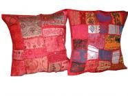 Vintage Sari Pillows 2 Cerise Red Embroidered Patchwork Cushion Covers $23.99
