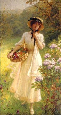 Lynch, Albert (b,1851)- Gathering Flowers