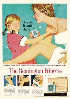 Jong geleerd is oud gedaan, zo lijken ze hier te zeggen in deze Remmington advertentie.  The Remington Princess (1958) advertisement