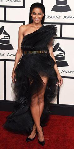 Grammys 2015 Red Carpet Arrivals - Ciara -gorgeous foamy black dress!