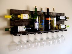 Rustic Wood Wine Wall Rack