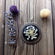 natural necklace - plant jewelry - nature necklace - black necklace with real pressed flowers and glass handmade cabochon over black resin