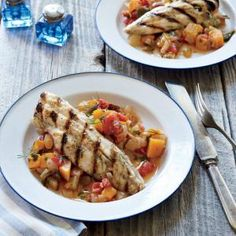 Grilled Dogfish on Late-Summer Caponata | MyRecipes.com #myplate #protein #veggies