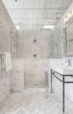 love the herringbone on the floor Bathroom floor tile - Tempesta Neve Polished Marble subway tile Carrara Marble Bathroom, Marble Subway Tiles, Bathroom Floor Tiles, Tile Floor, Kitchen Tile, Kitchen Flooring, Bathroom Images, Small Bathroom, Master Bathroom