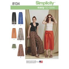 Sewing Pattern Palazoo Pants Pattern, Easy to Sew Wrap Pants Pattern, Simplicity Sewing Pattern 8134 by on Etsy New Look Patterns, Easy Sewing Patterns, Simplicity Sewing Patterns, Vintage Sewing Patterns, Clothes Patterns, Shirt Patterns, Dress Patterns, Sewing Pants, Sewing Clothes
