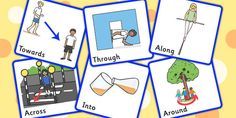 Preposition Picture Cards - position, support cards, visual aids, prepositions