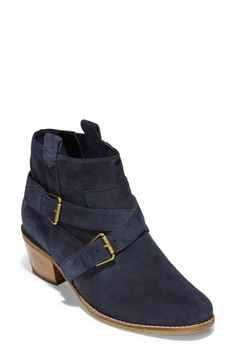 Cole Haan Jensynn Bootie In Marine Blue Suede Marine Blue, Equestrian Style, Suede Booties, Blue Suede, Cole Haan, Clogs, Oxford Shoes, Dress Shoes, Nordstrom