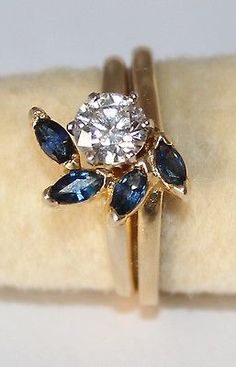 NEW 14 KARAT GOLD LADIES SAPPHIRE RING JACKET / ENHANCER FOR SOLITAIRE #JRJ-021 in Jewelry & Watches, Fine Jewelry, Fine Rings | eBay
