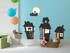 Halloween Haunted Houses Wall Decal, Wall Sticker, and Wall Decor.