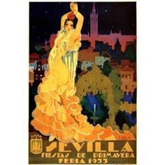 1933 SEVILLA FIESTAS DE PRIMAVERA SPRING FLOWERS EUROPE TRAVEL TOURISM SPAIN SMALL VINTAGE POSTER REPRO