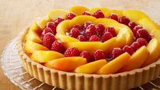 Tarta de melocotón y frambuesas (Peach raspberry custard tart) - Anna Olson - Receta - Canal Cocina