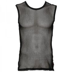 Black fishnet tank top from the Queen of Darkness line of gothic men's clothing. Sleeveless, soft cotton fabric and medium size holes.