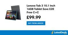 Lenovo Tab 3 10.1 Inch 16GB Tablet Save £20 Free C+C, £99.99 at Argos