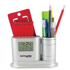 Stationery and pen holder clock Product Size: 150w x 90h  Branding Type: pad print Material: plastic