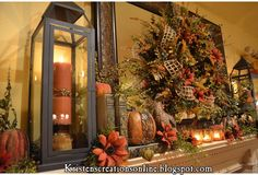 Kristen's Creations: My Fall Mantle With A Warm Glow- 2nd view
