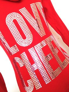 Love Cheer Red & Silver Cheerleading Zip Up Hoodie by Bowfriendz, $34.99