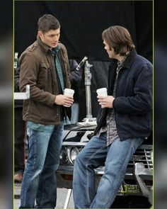 """1,025 Likes, 4 Comments - Supernatural (@the1clue) on Instagram: """"My Men Crush Monday and Everyday ❤❤ Handsome Jared and Jensen on Supernatural set, December 2010.…"""""""
