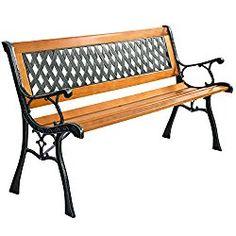 Giantex 49 1/2″ Patio Park Garden Bench Porch Path Chair Outdoor Deck Cast Iron Hardwood