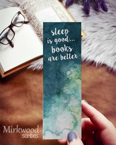 Sleep is Good Books are Better bookmark Jade Green Watercolor