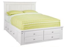 Our Catalina collection expands your child's bedroom with a space-conscious contemporary styled Full Storage Platform Bed. The piece comes in a white paint finish natural pinewood and features a panel headboard with drawers in the footboard & under the bed. The storage makes for a perfect place for keeping spare blankets, pillows and sweatshirts. Functional and fashionable, this bed is sure to be a space-saver.