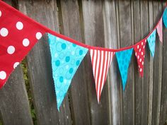 Dr. Suess Bunting Red and Turquoise Fabric Large size for Birthday Party, Nursery, Photo Prop. $24.00, via Etsy.