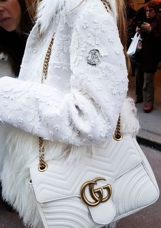 All white outfit, white moncler coat, white gucci bag, white accessories, winter style Gucci Wallet, Gucci Purses, White Gucci Bag, White Handbag, Style Casual, My Style, Nordstrom, Fashion Forecasting, Business Outfit