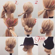 (香川県/美容師)西川 ヒロキ《ヘアアレンジ・透けカラー》さんはInstagramを利用しています:「ニット帽・ハットアレンジ★ 1,横と後ろを分けて後ろはどちらかに寄せて結びます 2,横の髪は後ろの結んだ位置で結びます 3,横の髪はくるりんぱします 4,後ろで結んだゴムにアレンジスティックをさして少しづつ髪を入れていきます 5,全部入れるとサイドシニヨンになります…」 Scarf Hairstyles, Cool Hairstyles, Hair Arrange, Bun Updo, Good Hair Day, Prom Hair, Bridal Hair, Hair Care, Hair Makeup