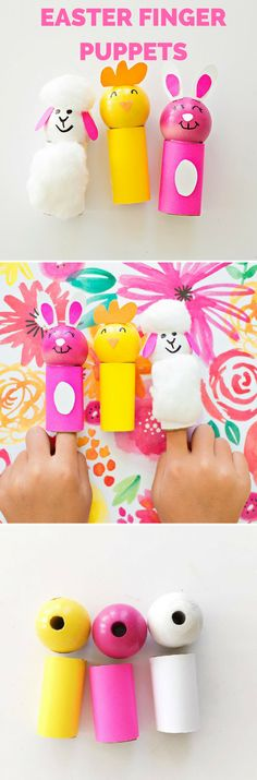Easter Chick Bunny Sheep Finger Puppets. Made of recycled paper tubes and paper. These Easter friends are so fun for kids to make and play with.