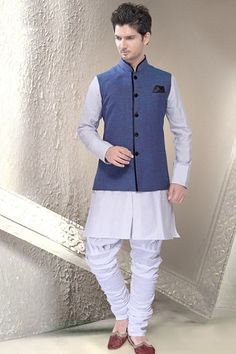 Blue Ramie Linen Readymade Nehru Jacket - Wedding And Engagement Engagement Dress For Groom, Indian Engagement Outfit, Engagement Dresses, Nehru Jacket For Men, Nehru Jackets, Wedding Dresses Men Indian, Wedding Dress Men, Wedding Men, Marriage Dress For Men