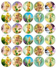 Tinkerbell Disney Cupcake Toppers Edible Wafer Paper Buy 2 Get Free Tinkerbell And Friends, Tinkerbell Disney, Tinkerbell Party, Festa Thinker Bell, Tinkerbell Cake Topper, Anniversaire My Little Pony, Craft Font, Disney Cupcakes, Pink Happy Birthday