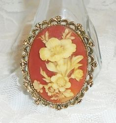 Victorian Style Floral Cameo Brooch Pendant by MrsFullersAttic