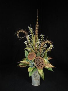Tall crackle finished bird motif container, Blue Hydrangea, Pods, and feathers