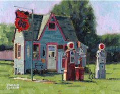 Original Oil Painting Old Phillips 66 Gas Station Kansas Listed Artist NR | eBay