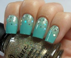 Beautiful turquoise and gold glitter.