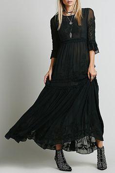 3/4 Sleeve Embroidered Ruffles Maxi Dress BLACK: Maxi Dresses | ZAFUL