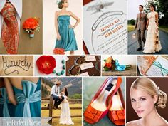 burnt orange and teal