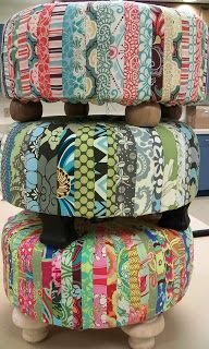 """Creating a """"Tuffet"""" out of fabric scraps!: Eating my curds and whey. Sewing Hacks, Sewing Tutorials, Sewing Crafts, Sewing Projects, Craft Projects, Sewing Patterns, Diy And Crafts, Arts And Crafts, Diy Ottoman"""