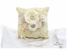 Wedding Lace Ring Pillow Bridal Jeweled Ring Pillow Beaded