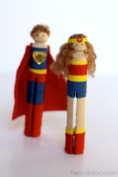 Clothespin #superheroes at Twodaloo- perfect for pretend #play (and hilarious)