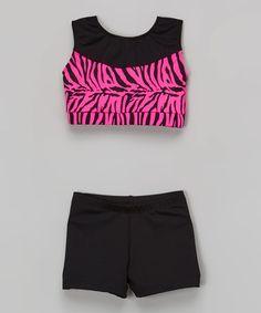 Love this Black & Hot Pink Zebra Crop Tank & Shorts - Toddler & Girls on #zulily! #zulilyfinds
