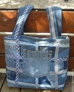 Denim bag with pocket