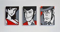 Trittico Lupin - Acrilico su 3 mini-tele