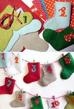 *With directions* - Stocking Christmas countdown calendar Frozen Christmas, Christmas Love, Christmas Countdown, Christmas Holidays, Christmas Ornaments, Advent Calendars For Kids, Diy Advent Calendar, Countdown Calendar, Christmas Sewing