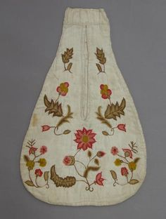 Early-mid 1700s.  The front and back of the pocket are made of plain weave linen and lined with linen. The front is embroidered in coloured wools in flowers, stems and leaves. The back has been repaired. There is a loop made of one piece of plain weave linen on the top back. The edges and opening are bound with linen tape.  Burrell Collection, E1938.92h