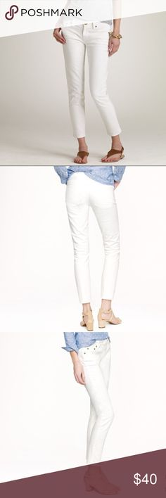 {J. Crew} White Matchstick Crop Jeans If you have not heard me say it yet, the JC Matchstick is THE jean obsession for me this year. Currently on website for $115; The fit is so incredible, and truly flatters...perfect straight/skinny cut, but not skintight. These are the perfect white jean for Spring, Summer, & early Fall....they look great straight or cuffed, and are the perfect length crop. Closet staple! J. Crew; Size 30 J. Crew Jeans Ankle & Cropped